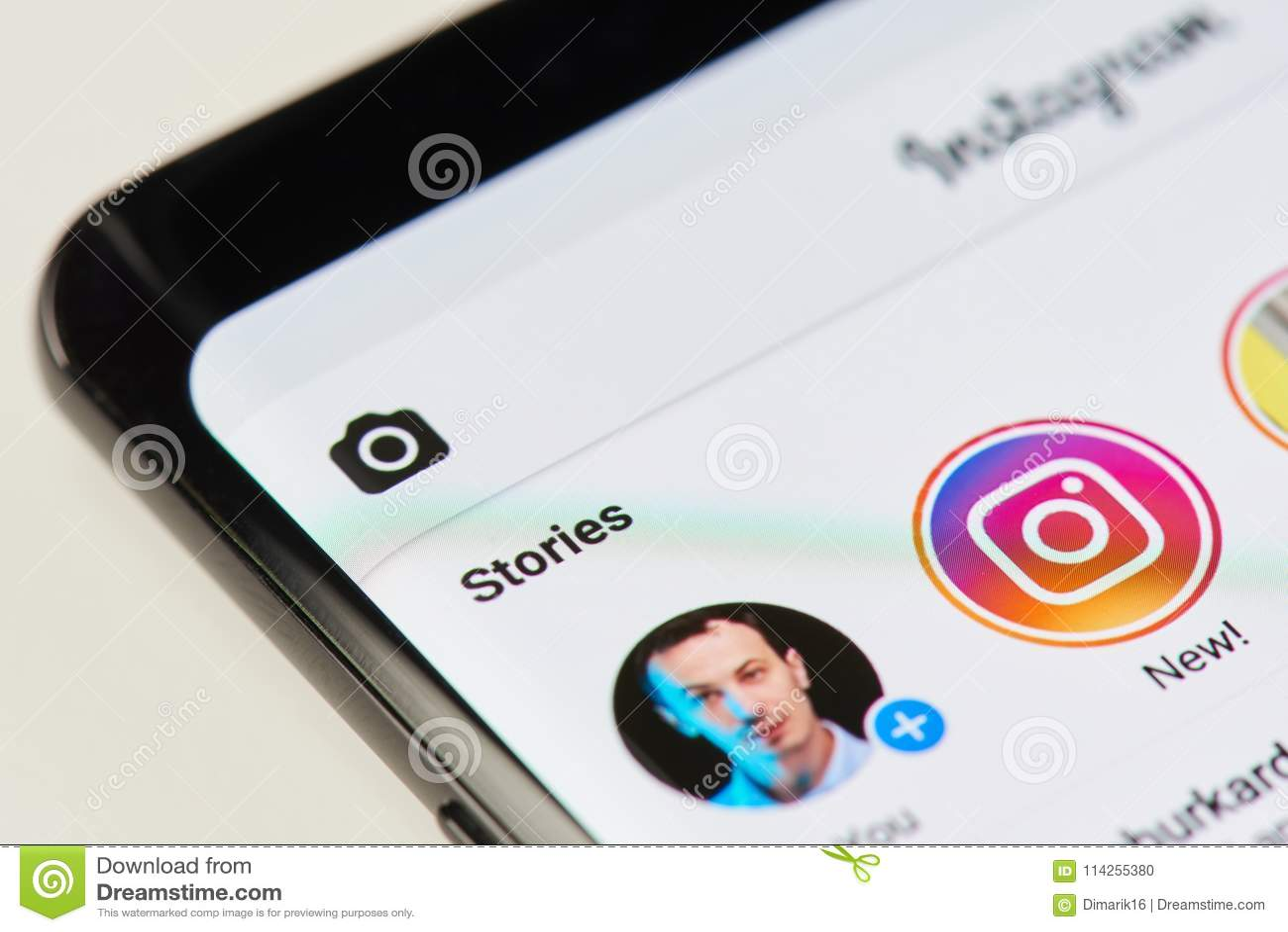 Adición de nueva historia en el instagram app
