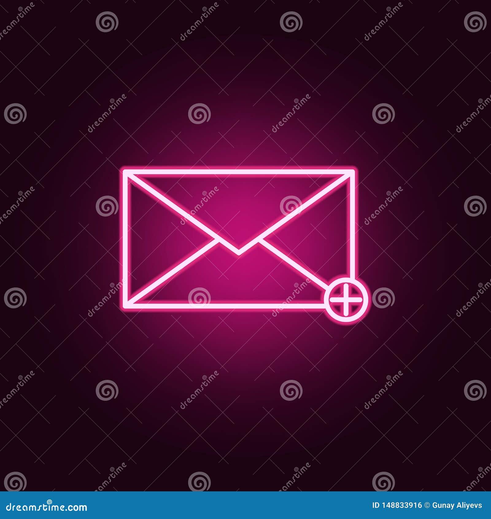 Adici?n de un icono de ne?n del mensaje Elementos del sistema de la web Icono simple para las p?ginas web, dise?o web, app m?vil,