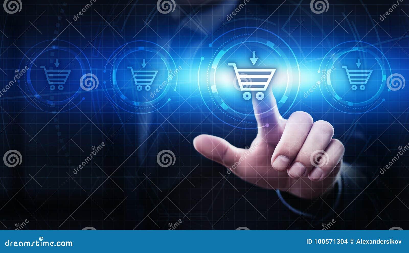 Adicione ao conceito em linha da compra da loja da Web do Internet do carro