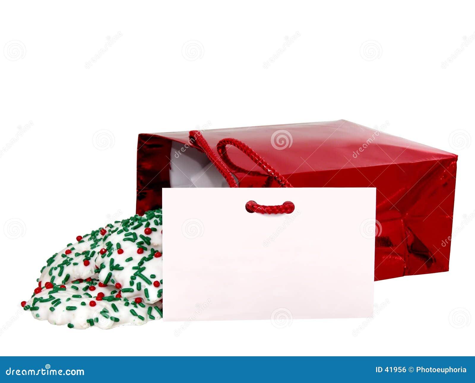 Adicione o texto (cartão & bolinhos do presente) no branco