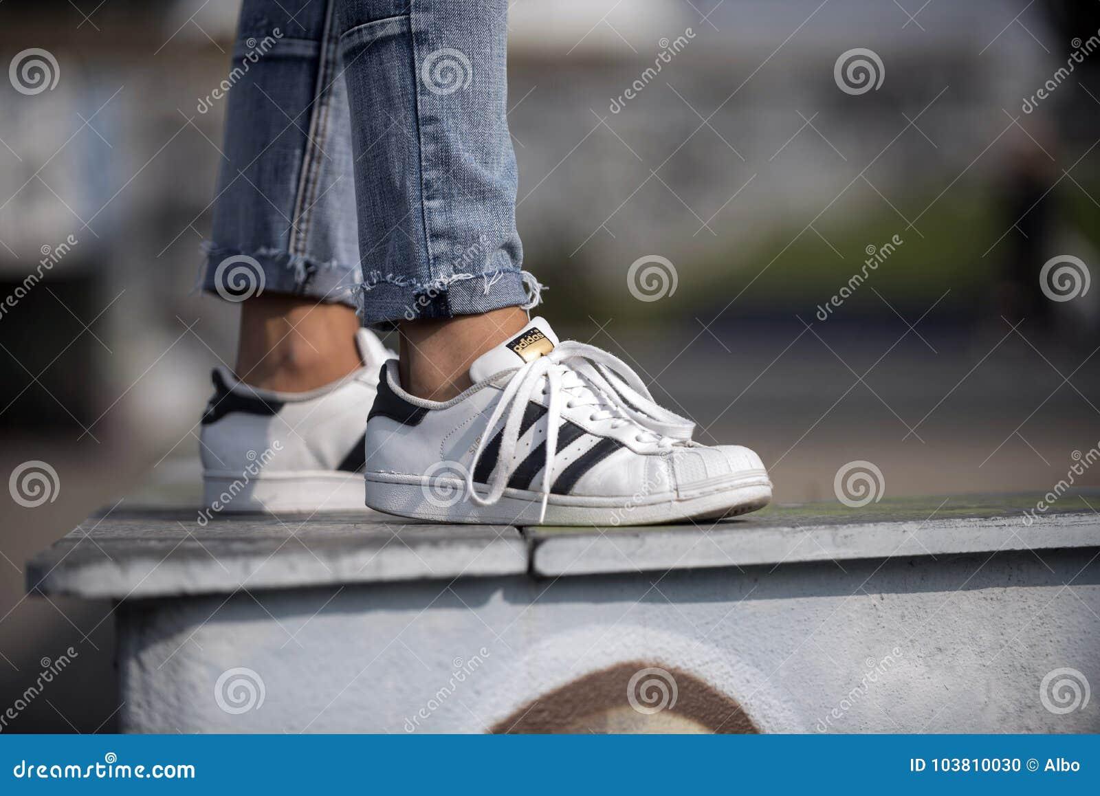 e221a43af0d3 Παπούτσια σούπερ σταρ της Adidas Εκδοτική εικόνα - εικόνα από ...