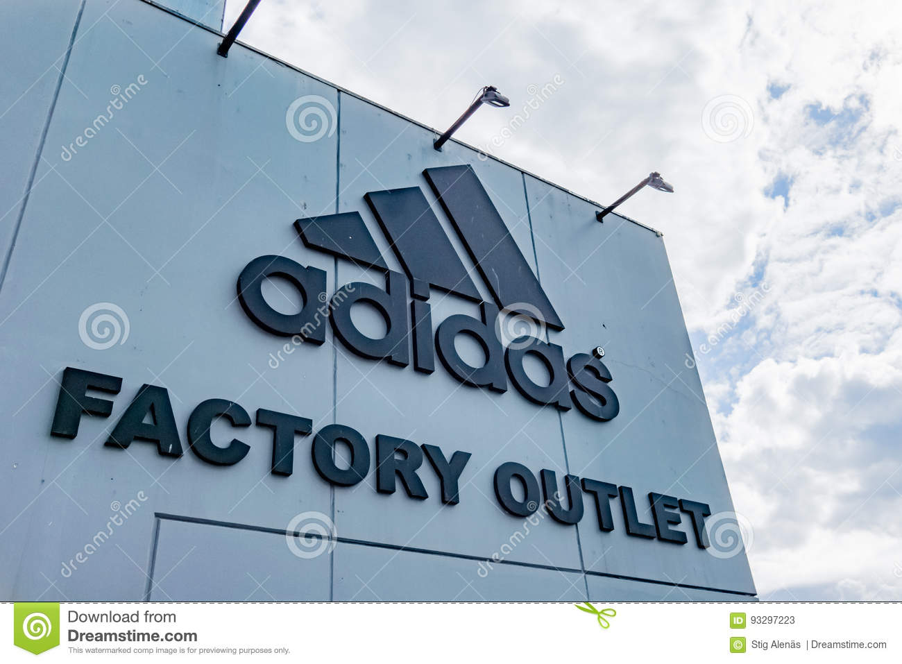 Adidas Factory Outlet. Sign Aganist The Sky. Editorial Stock Photo ...