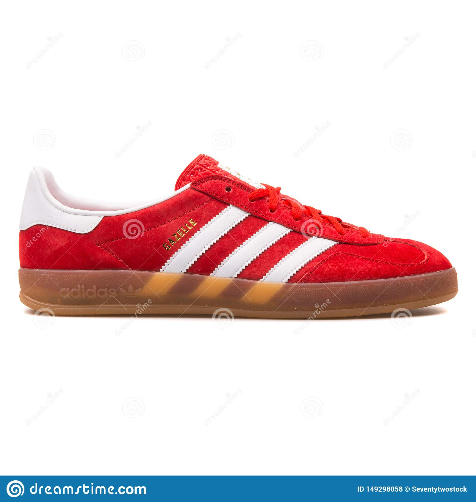 Adidas Gazelle Indoor Red And White Sneaker Editorial Stock Photo ...