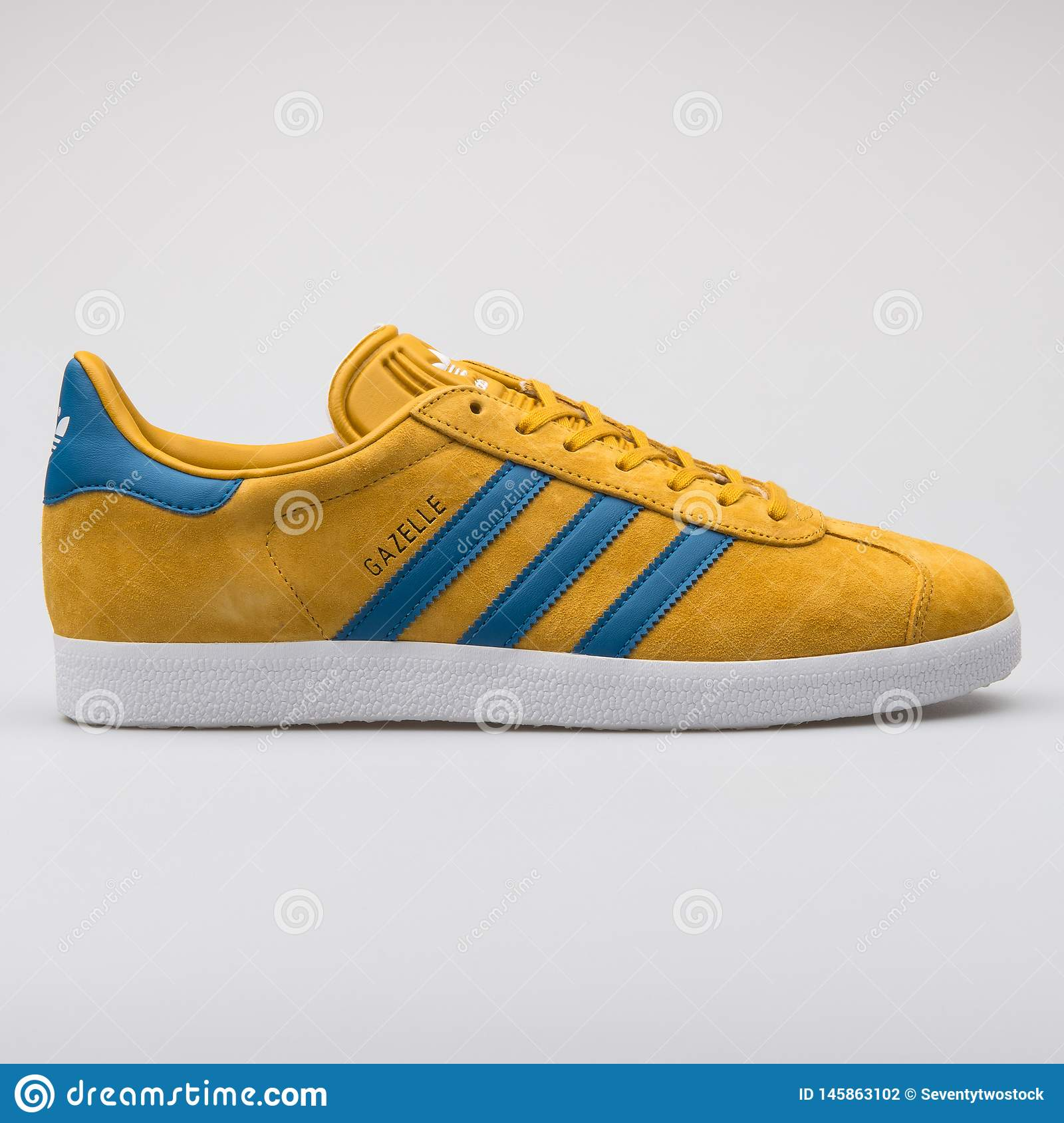 Adidas Gazelle Yellow And Blue Sneaker Editorial Photography ...