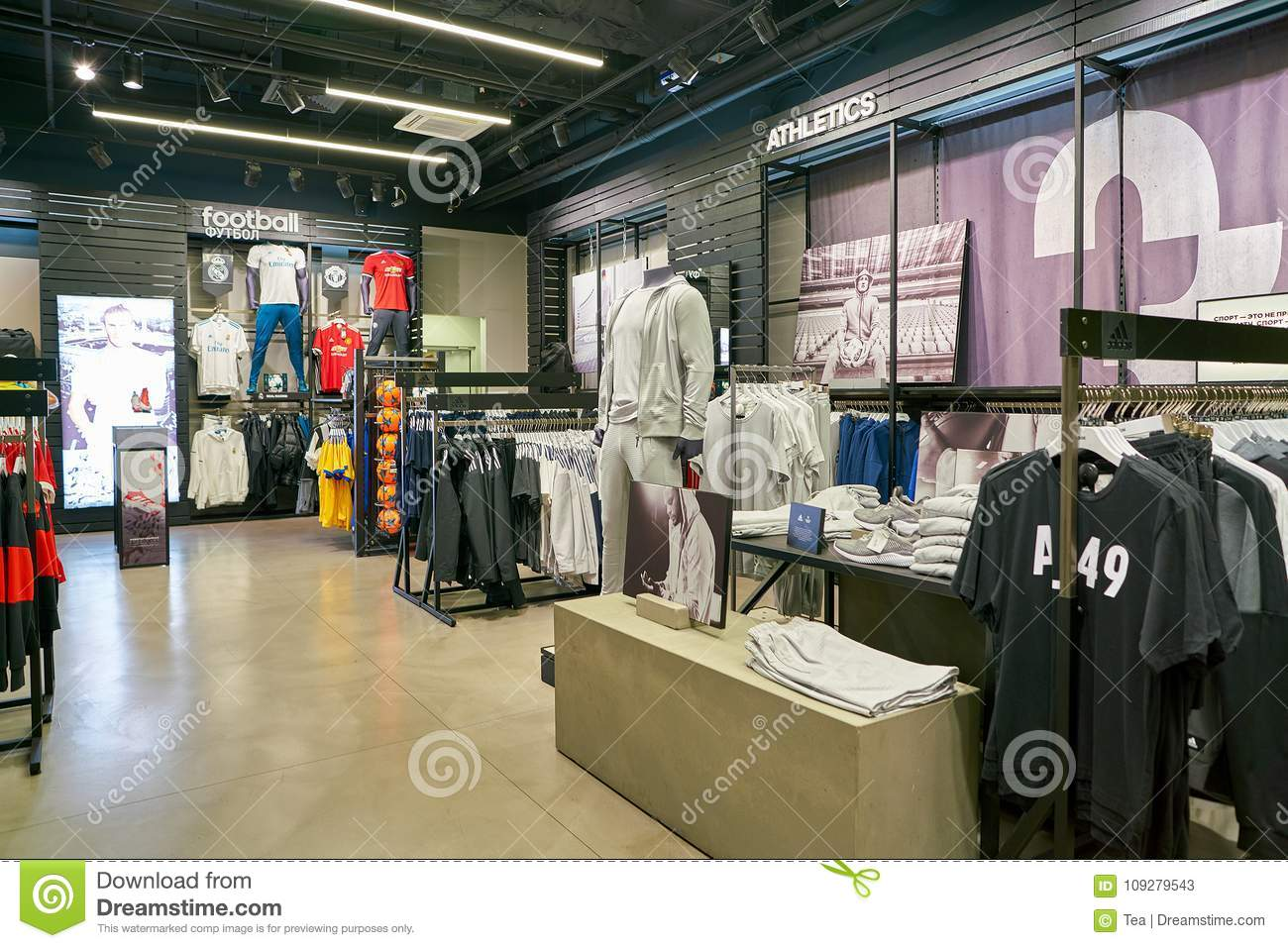 57a73498 SAINT PETERSBURG, RUSSIA - CIRCA AUGUST, 2017: inside Adidas store. Adidas  AG is a German multinational corporation, that designs and manufactures  shoes, ...