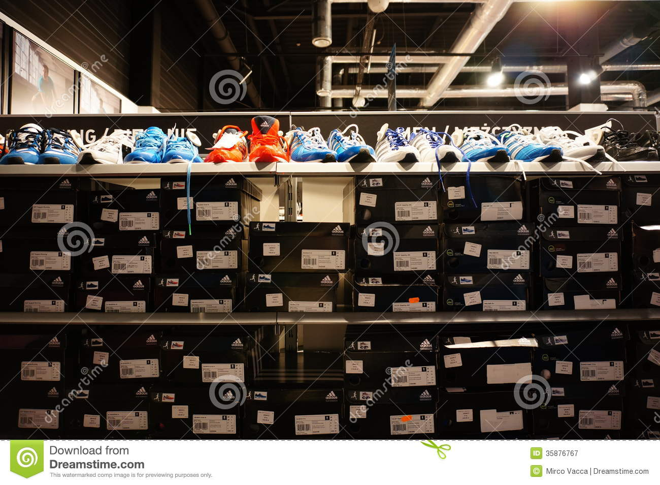 9aabbdcdb26e Collection of sport shoes for sale in a Adidas retail store in Poznan