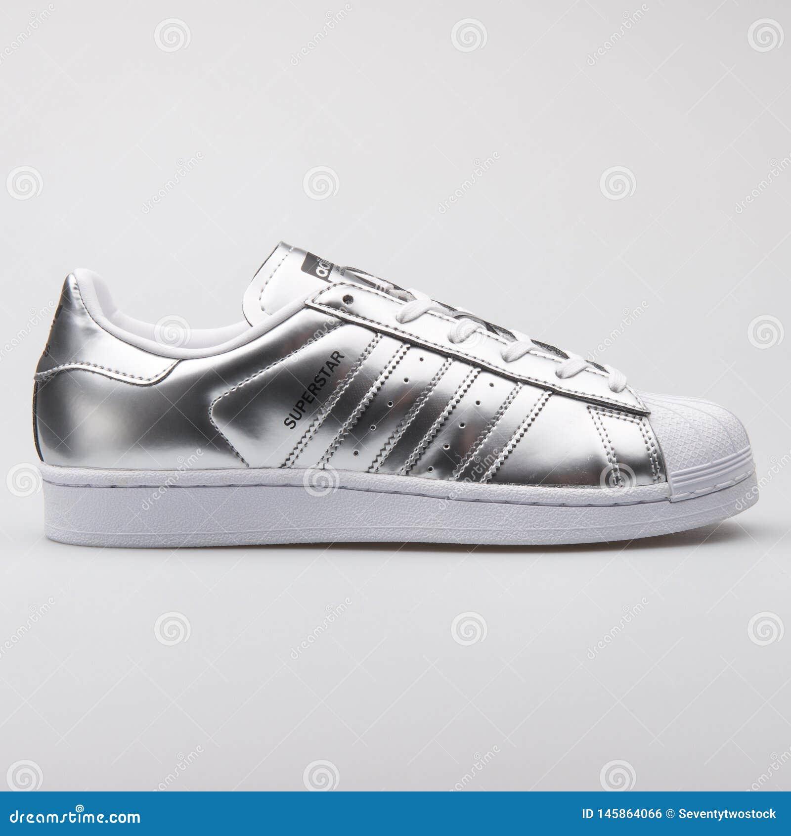 5c89725f Adidas Superstar Metallic Silver Sneaker Editorial Photo - Image of ...