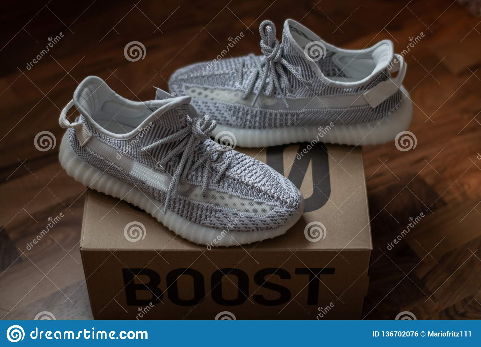 1d57132c Adidas Yeezy Boost 350 V2 Static standing on the 350 carton. Released on  December 26, 2018.