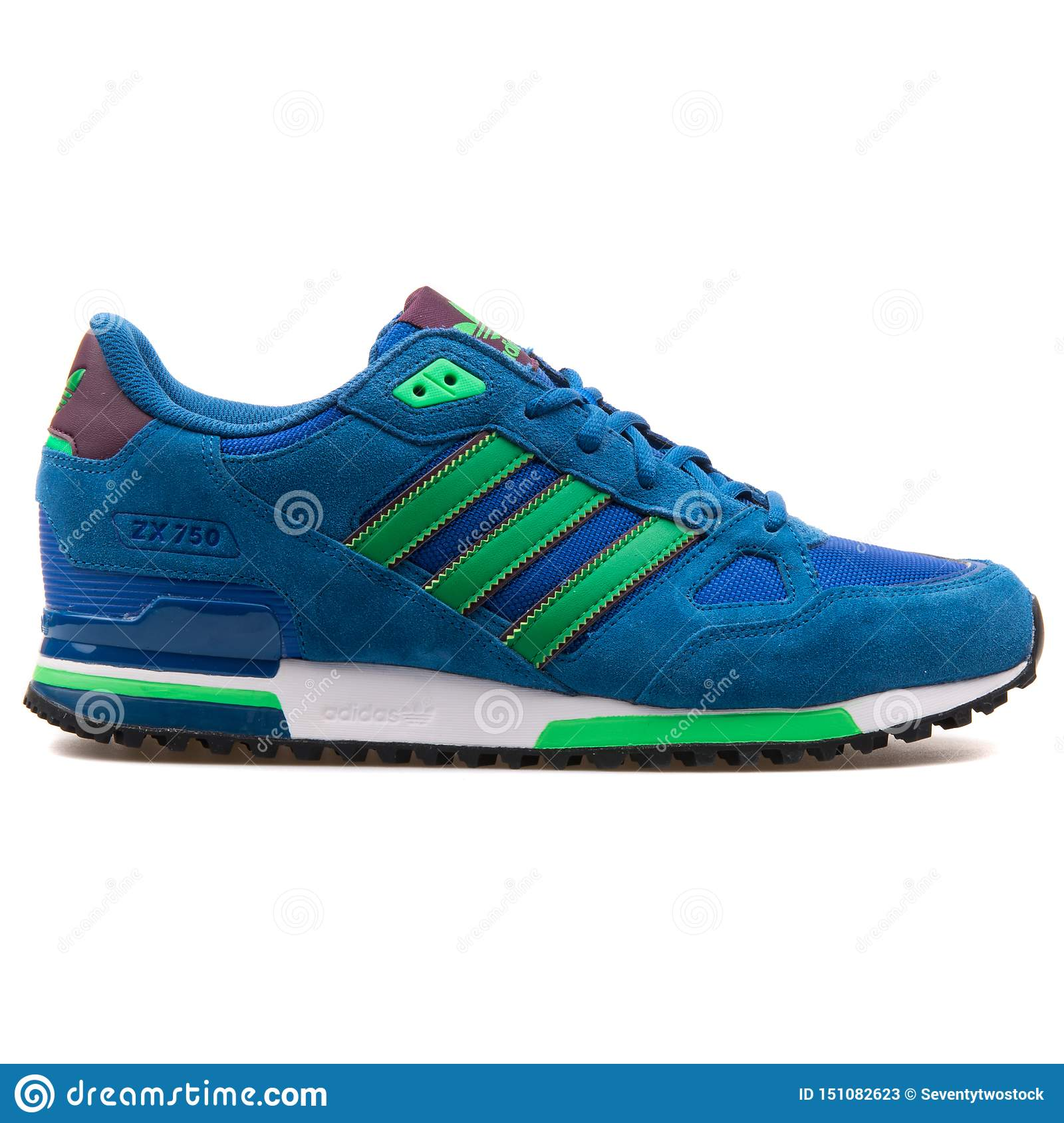 Adidas ZX 750 Blue And Green Sneaker Editorial Stock Photo