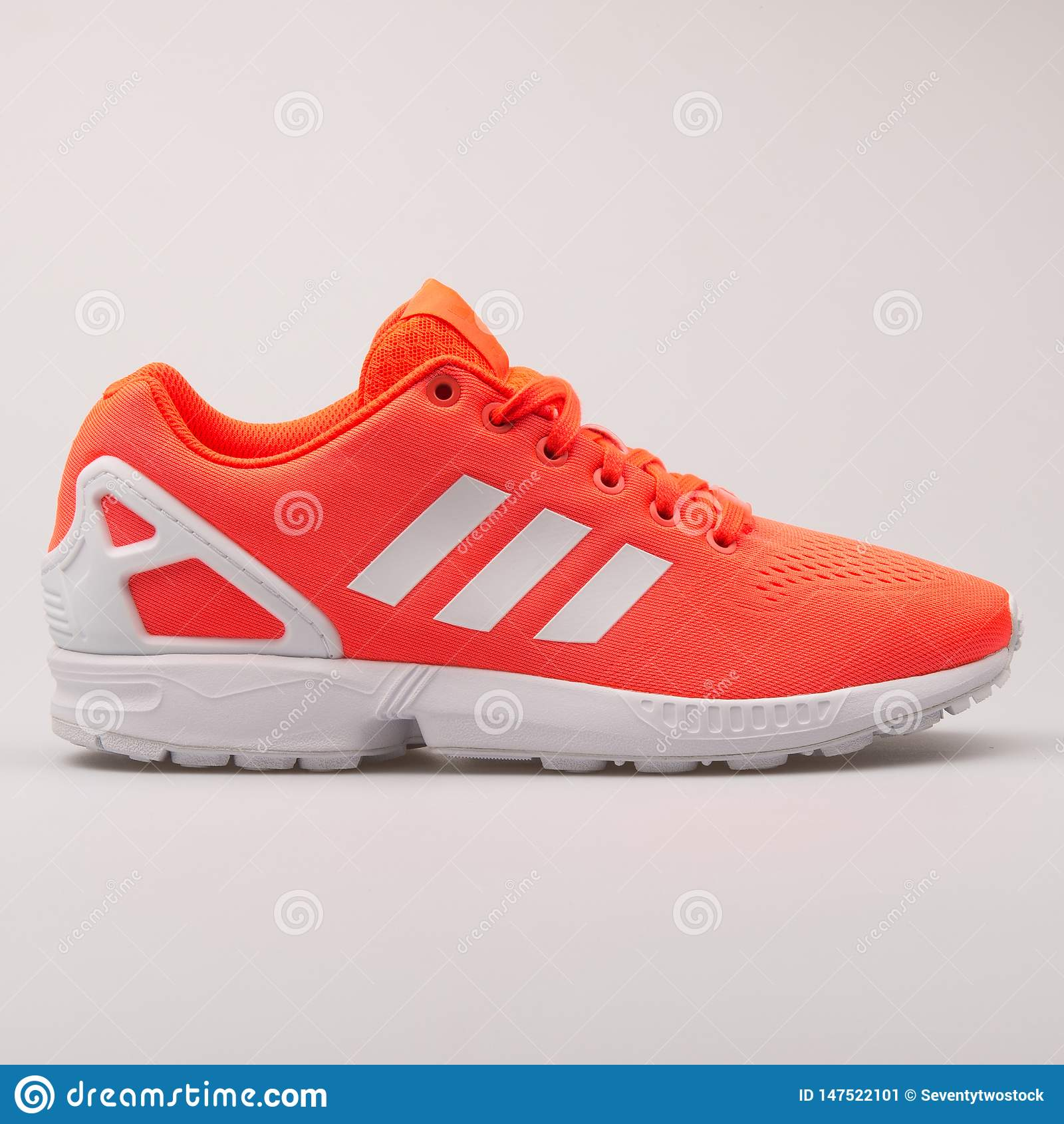 Adidas ZX Flux EM Red And White Sneaker Editorial Photo - Image of ...