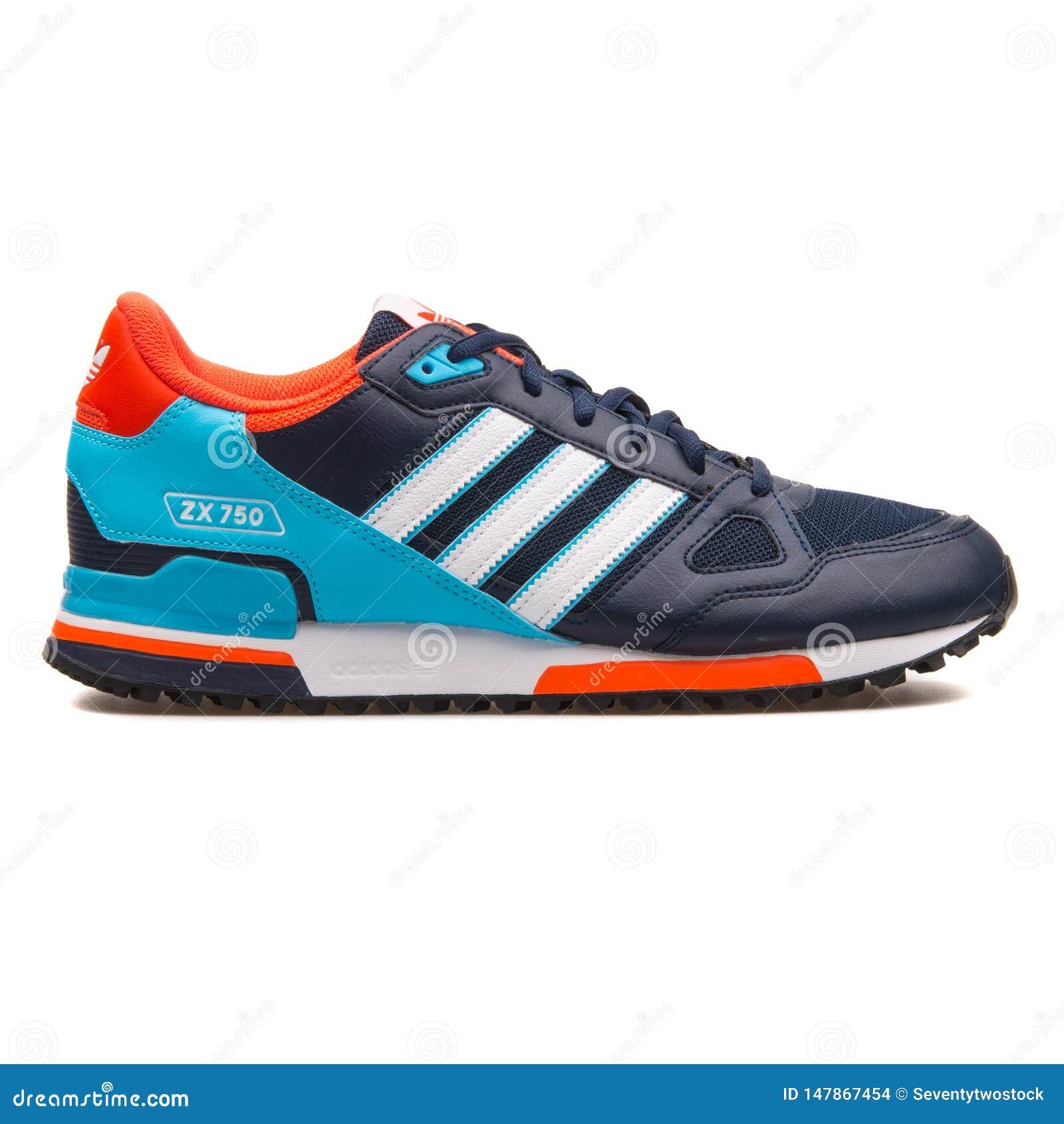 Adidas ZX 750 Navy Blue, Crimson And Cyan Sneaker Editorial