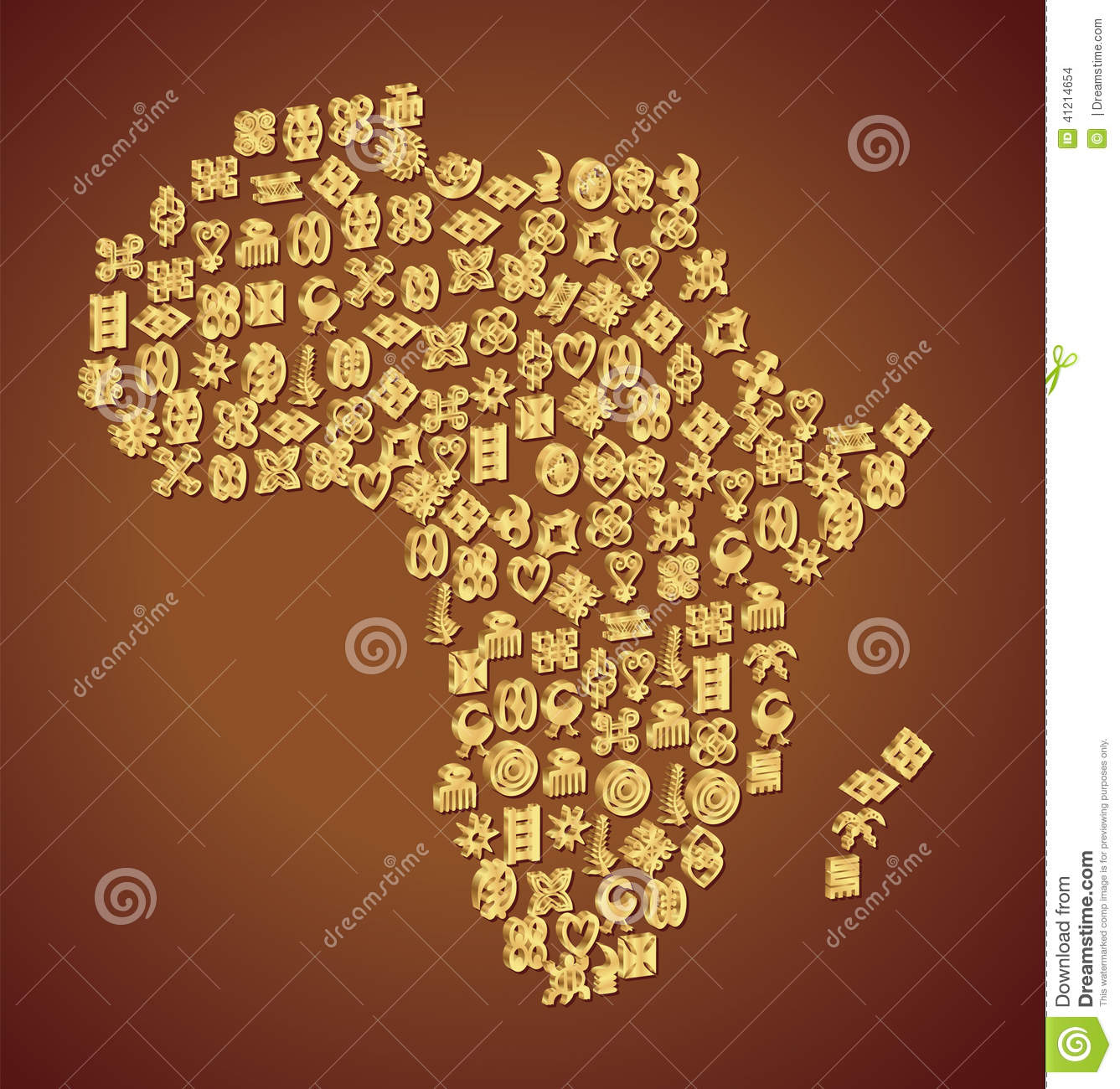 Adinkra Symbol Map Of Africa Stock Vector Illustration Of West