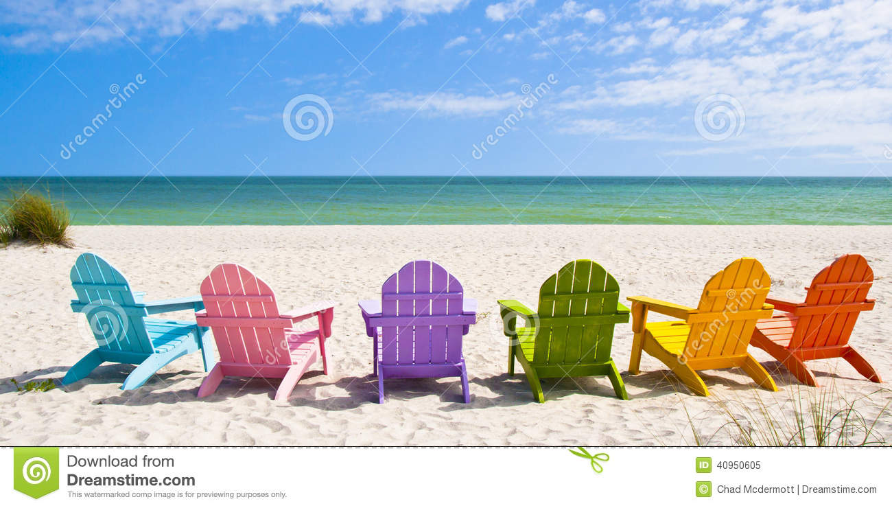 Adirondack Beach Chairs on a Sun Beach in front of a Holiday Vacation    Adirondack Beach Chair Clip Art