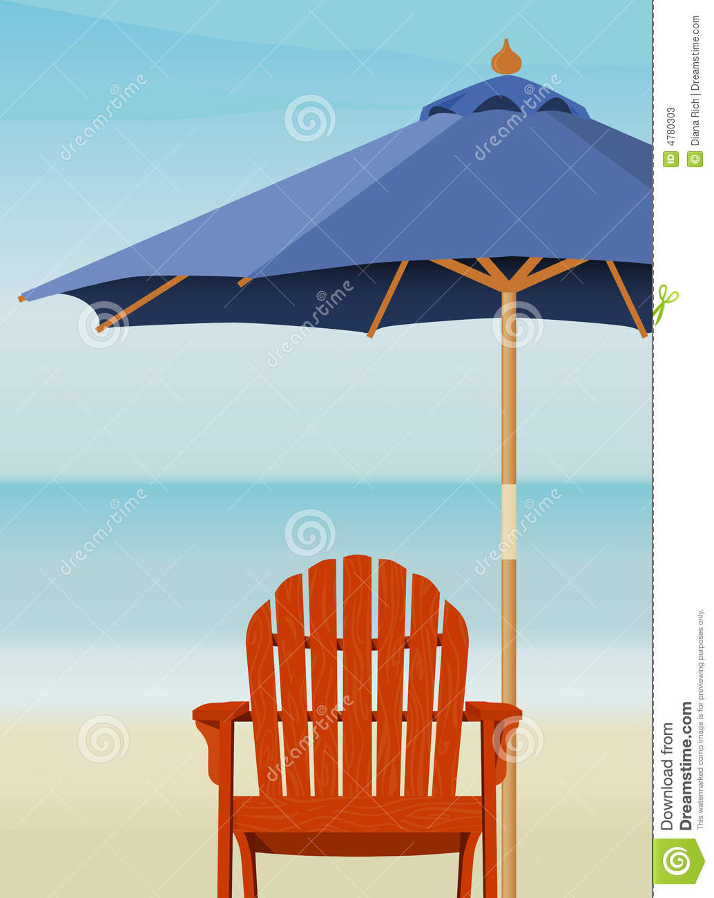 adirondack chair at beach stock vector. illustration of sandy - 4780303