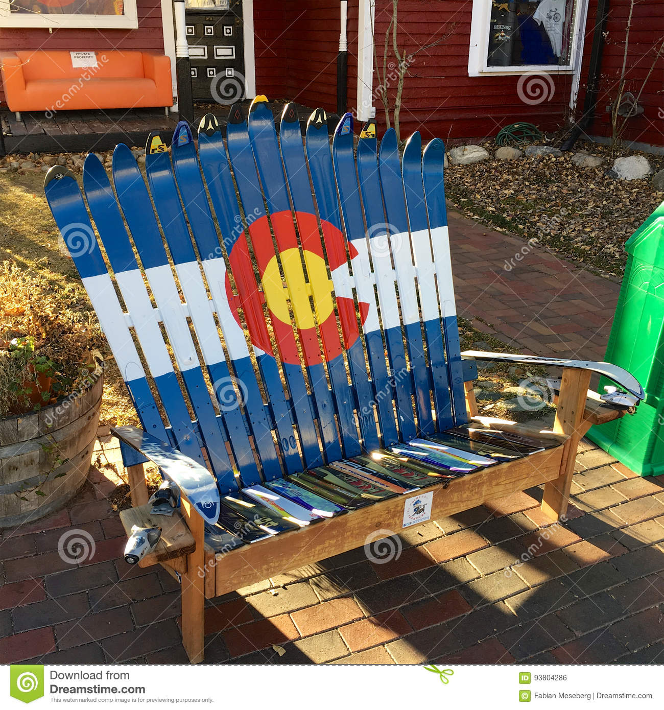Breckenridge, Colorado, USA U2013 October 29, 2016: Adirondack Chair Made Of  Used Skis With Colorado Logo On A Sidewalk On Main Street
