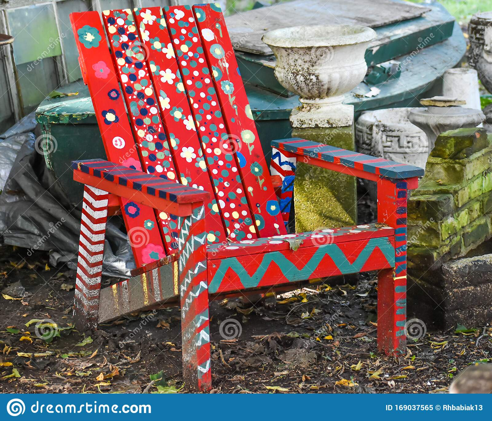 Adirondack Chair Painted Red With Flowers Stock Image Image Of Sitting Adirondack 169037565