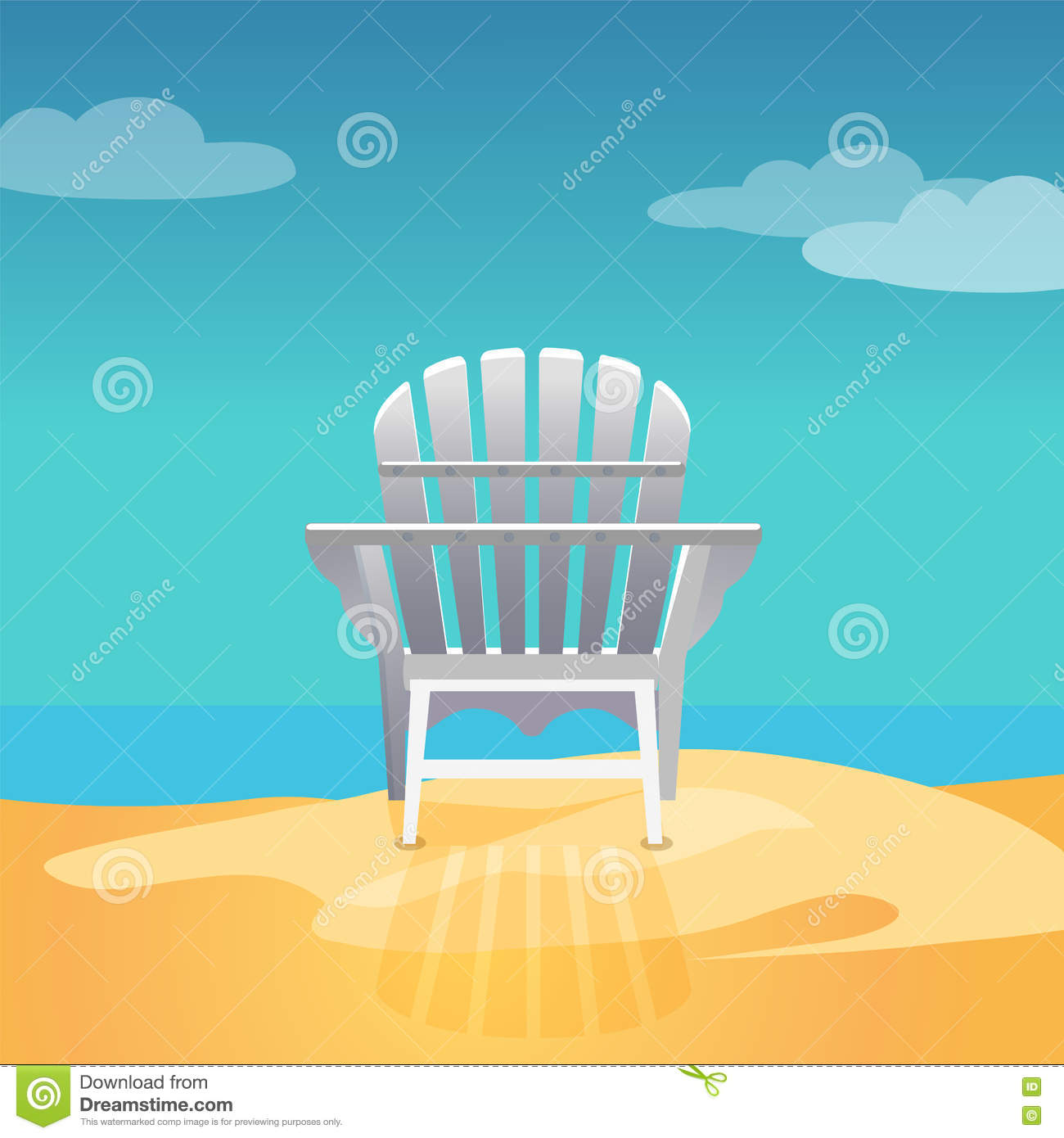 Adirondack Chair On The Sea Beach Standing On The Yellow Sand Under The  Blue Cloudy Sky