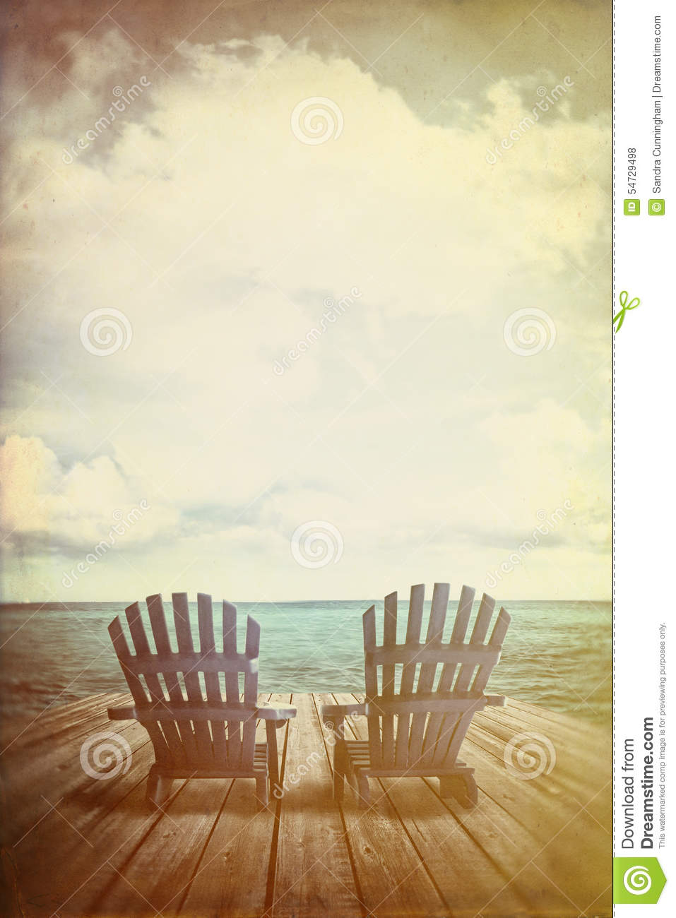 Adirondack chairs on beach sepia - Royalty Free Stock Photo Download Adirondack Chairs