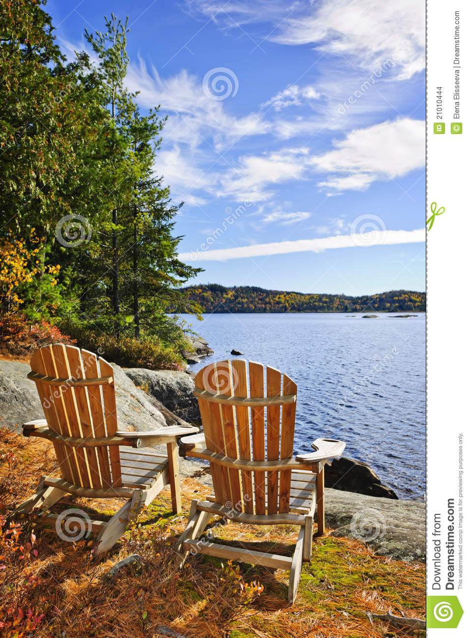 adirondack chairs lake shore