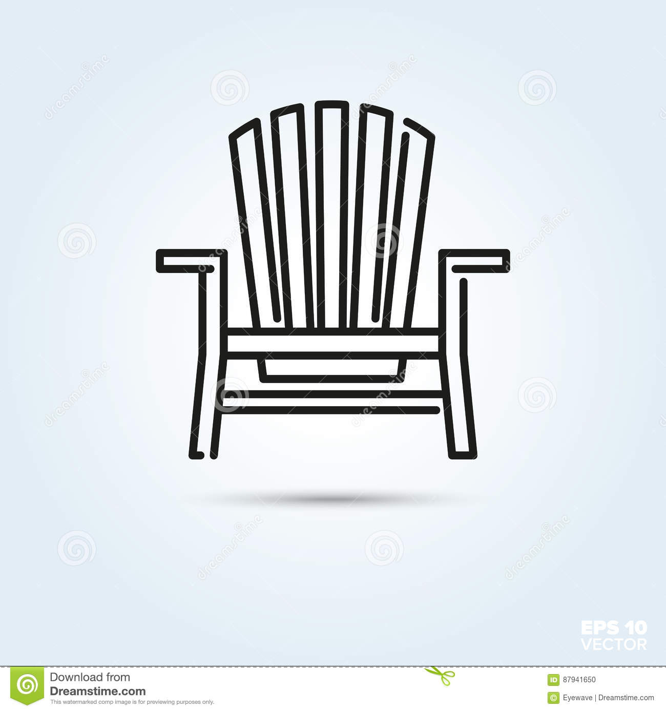 Adirondack Deck Chair Icon Stock Vector Illustration Of Wooden