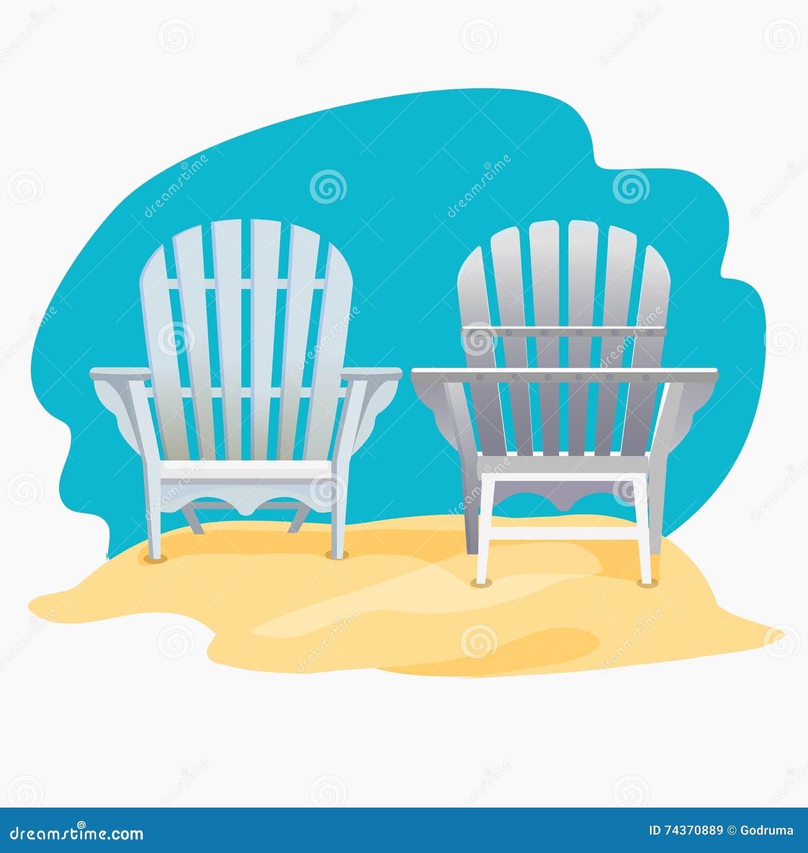 Adirondack Stuhl Der Auf Dem Mit Gelbem Sand Unter Dem Blauen