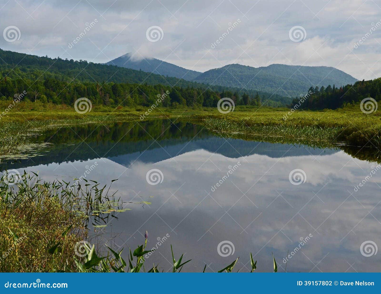 Adirondack wilderness waterway and mountains landscape