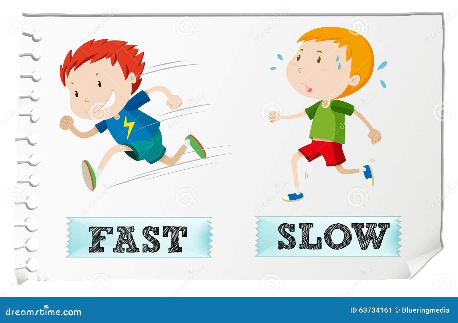 Adjetivos opostos com rápido e o lento