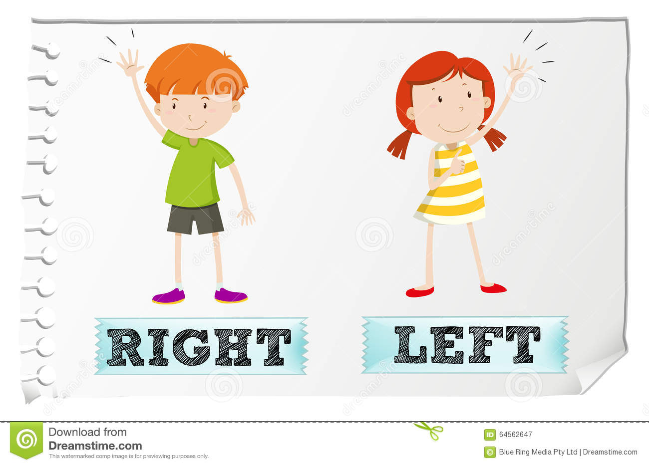 Adjetivos opuestos con left and right ilustraci n del for Right time images