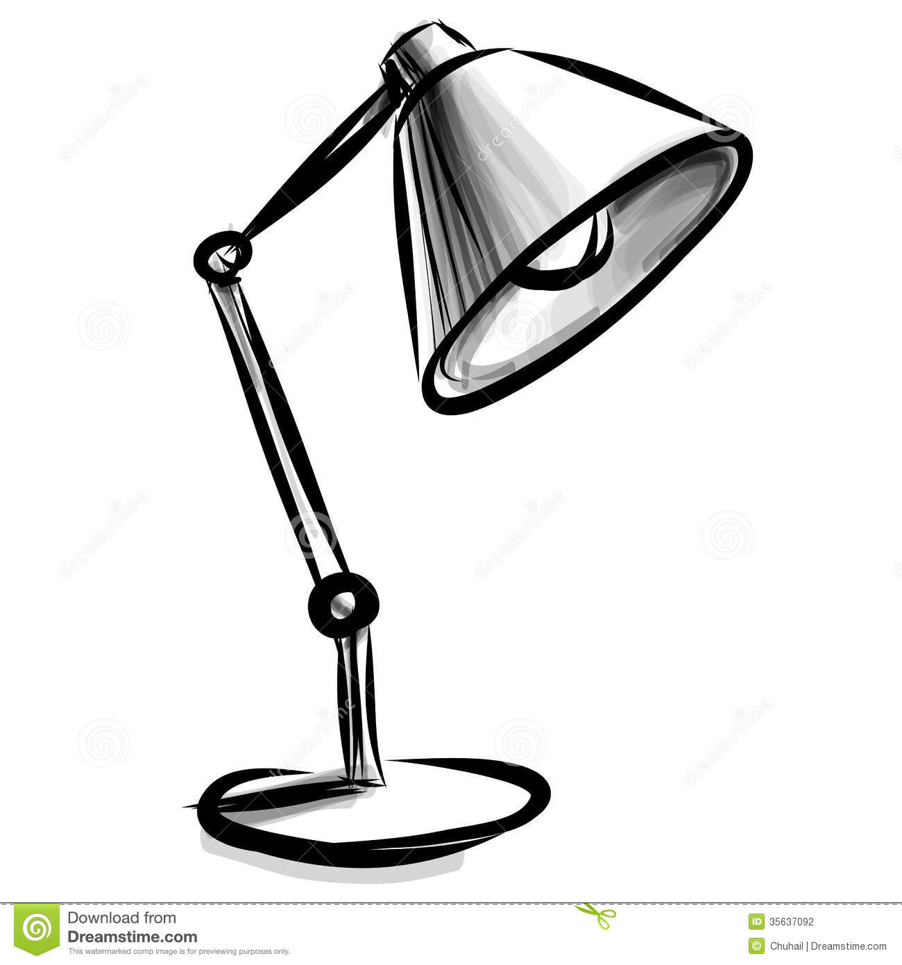 Adjustable table lamp isolated  Table Lamp Clipart