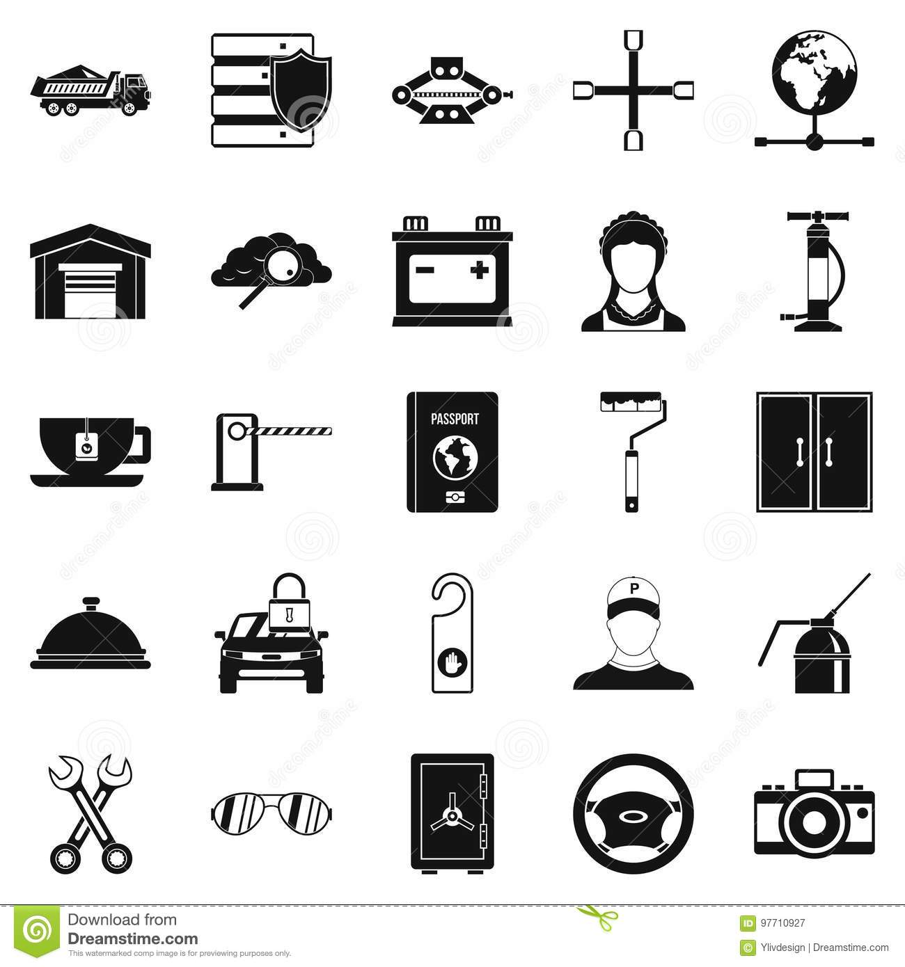 Adjustable Wrench Icons Set, Simple Style Stock Vector ...