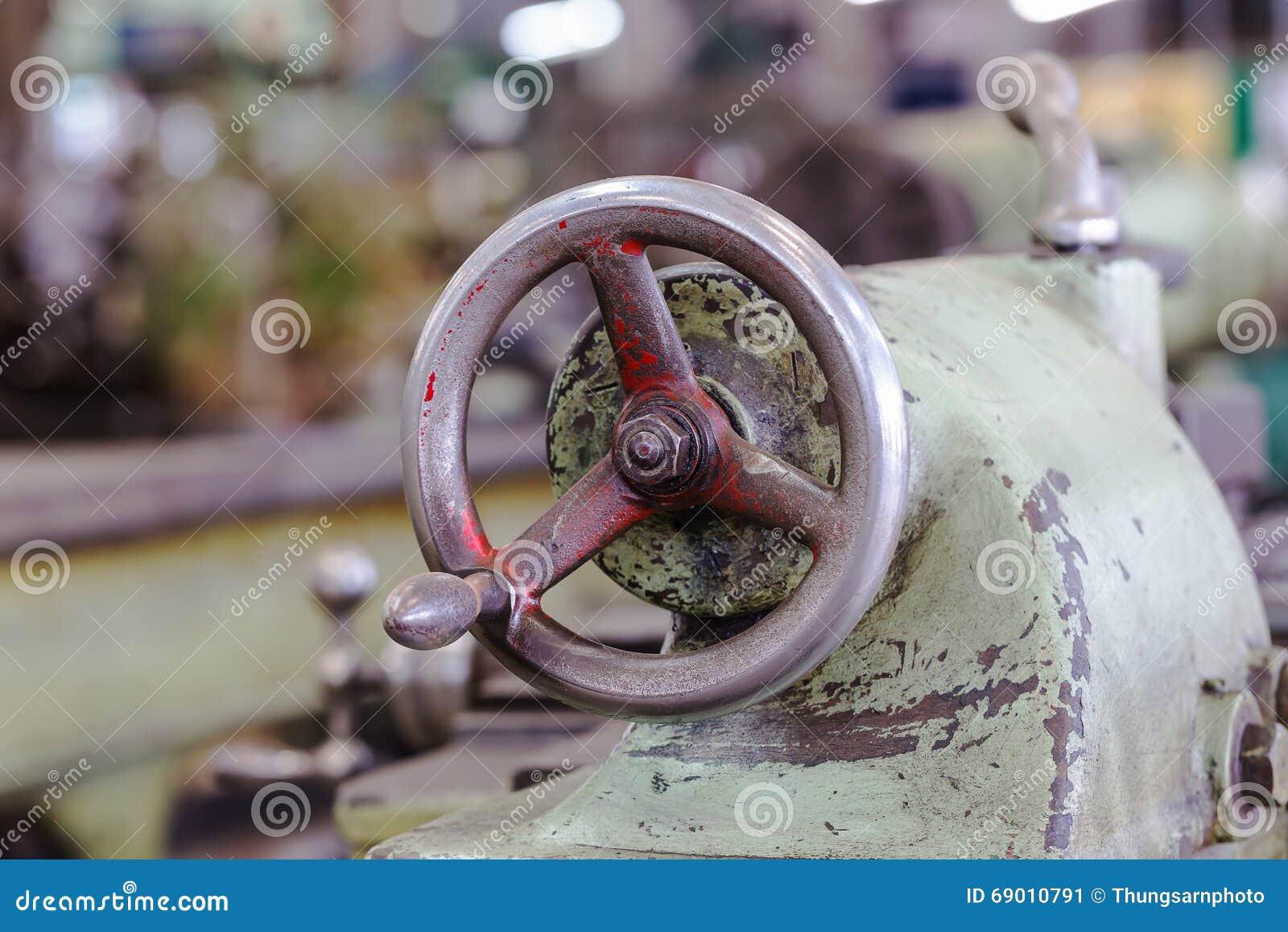 adjustment wheel of lathe machine stock image image of operate