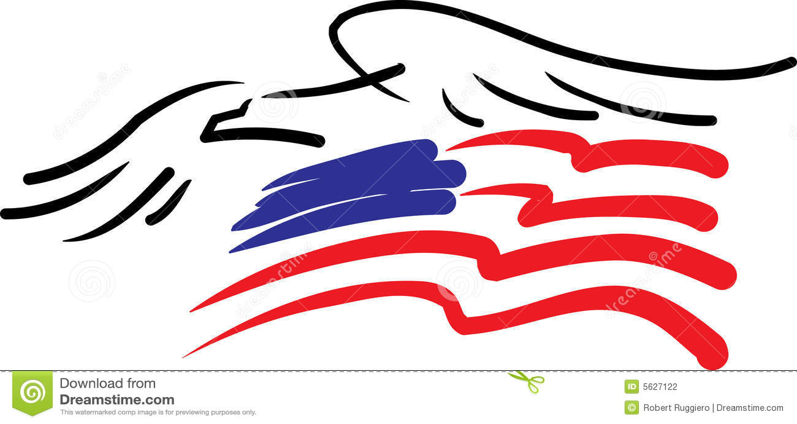 Adler und amerikanische Flagge