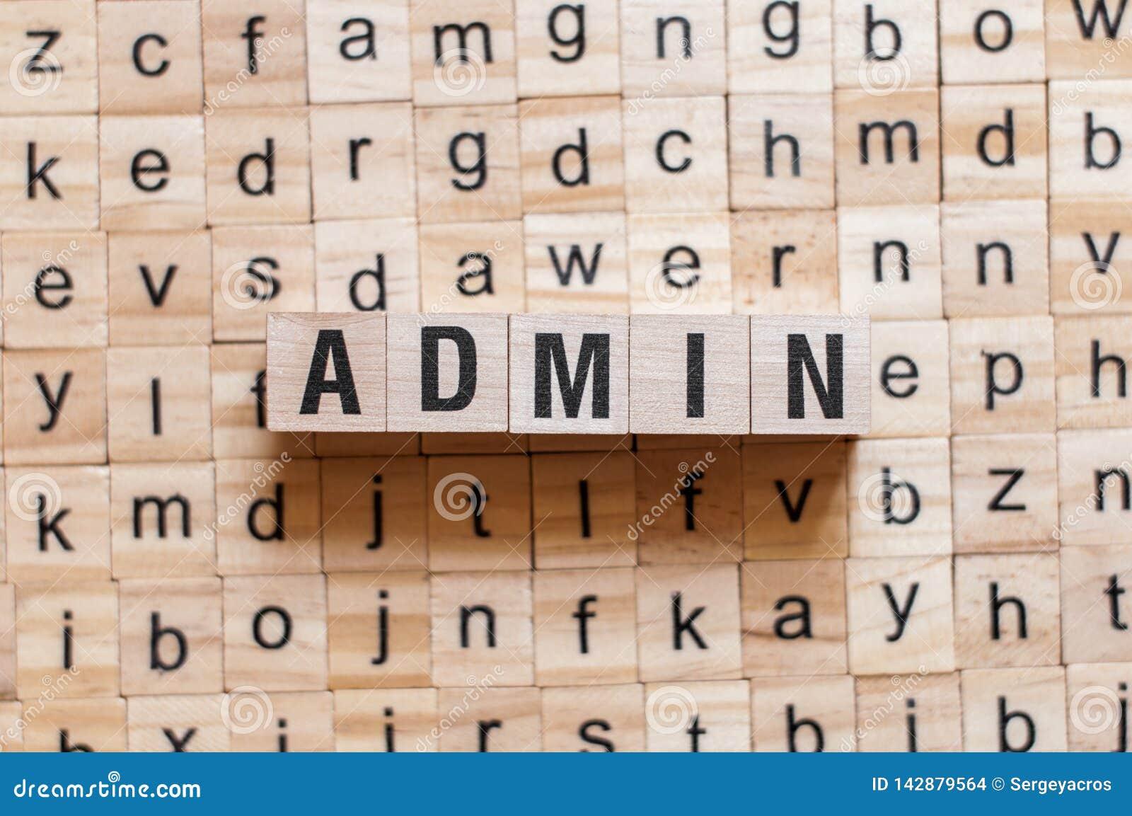 Admin word concept