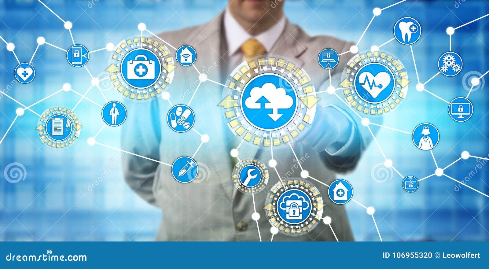 Administrador Exchanging Data Via SaaS dos cuidados médicos