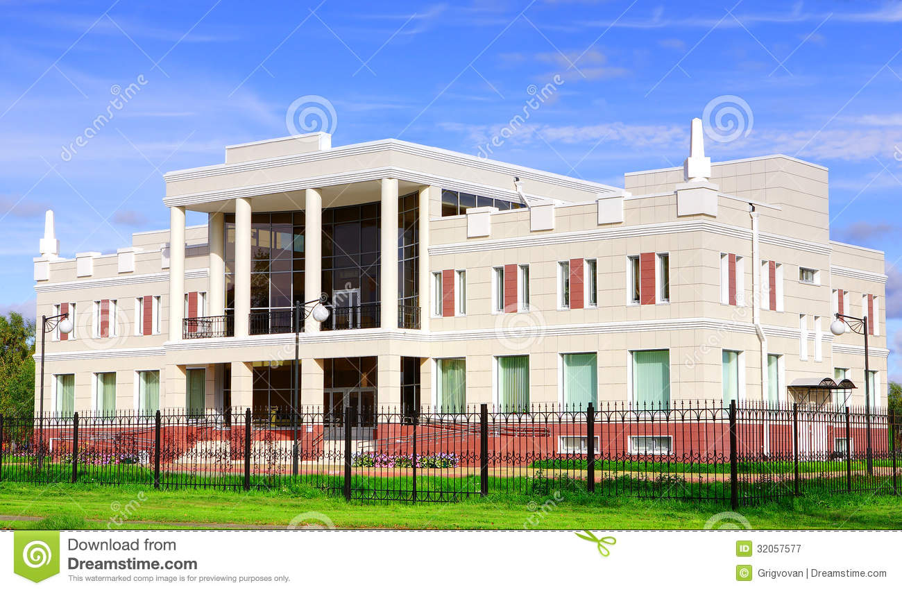 Administrative building of two stories high white with for Building a two story house