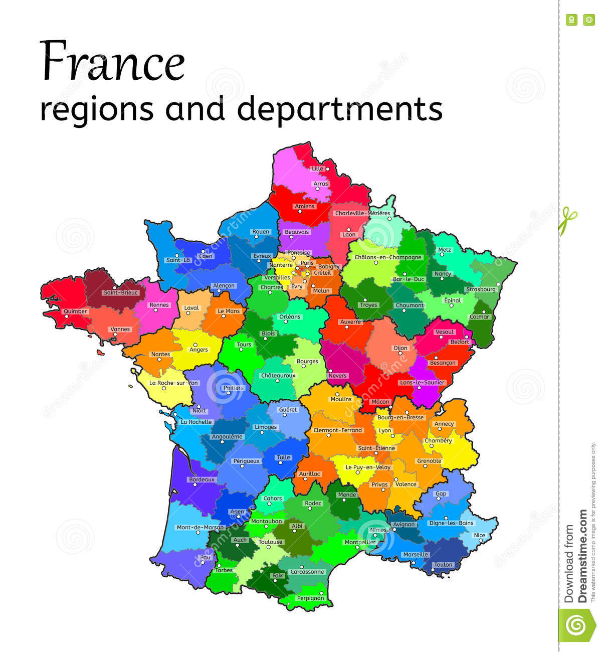 Map Of France New Regions.Administrative Map Of France Stock Vector Illustration Of French