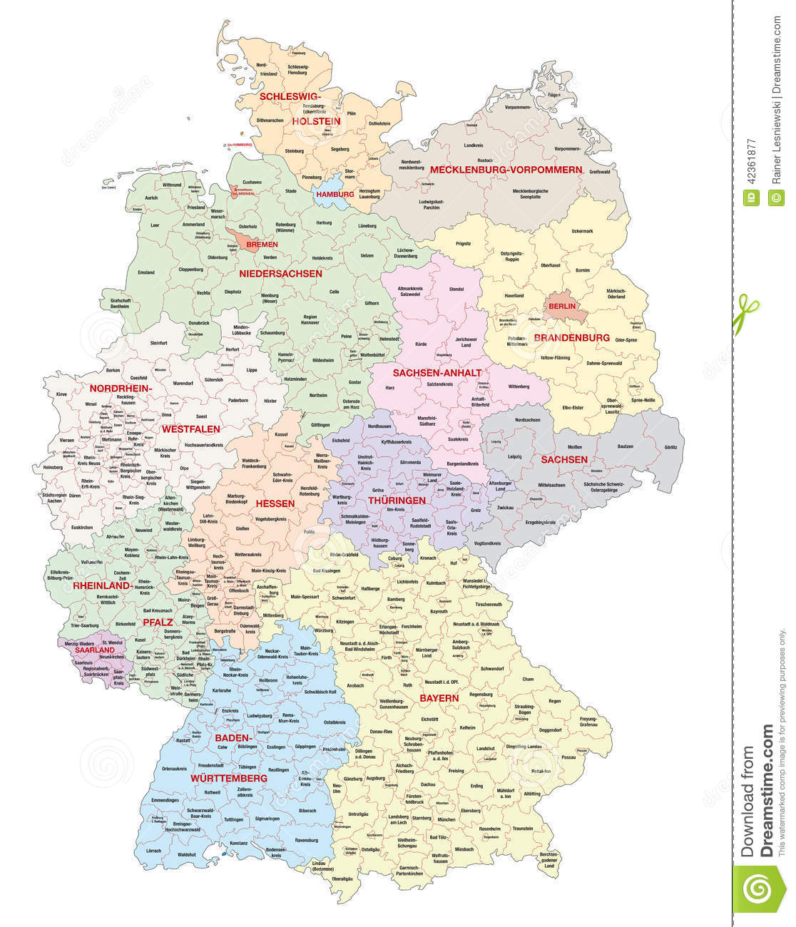 Regions Of Germany Map.Administrative Map Of Germany Stock Illustration Illustration Of