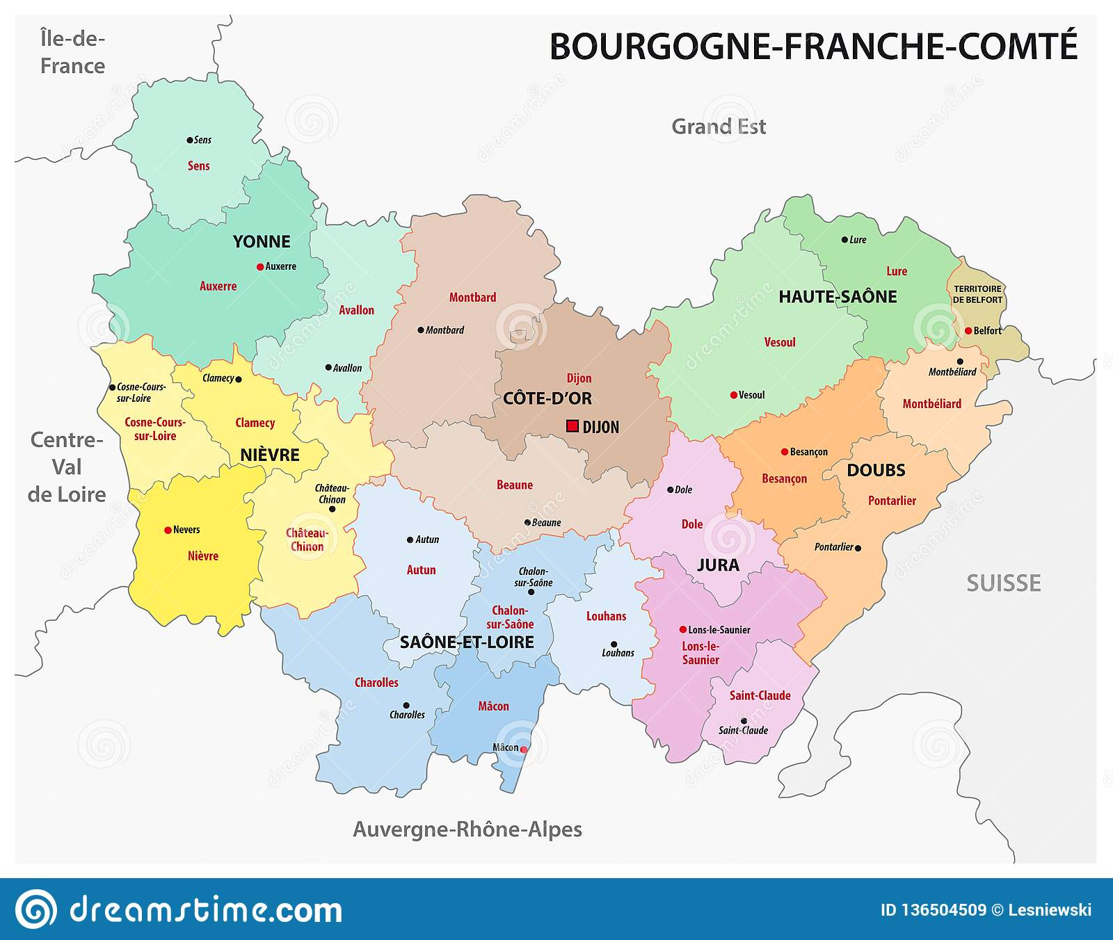 Map Of France New Regions.Administrative Map Of The New French Region Bourgogne Franche Comte