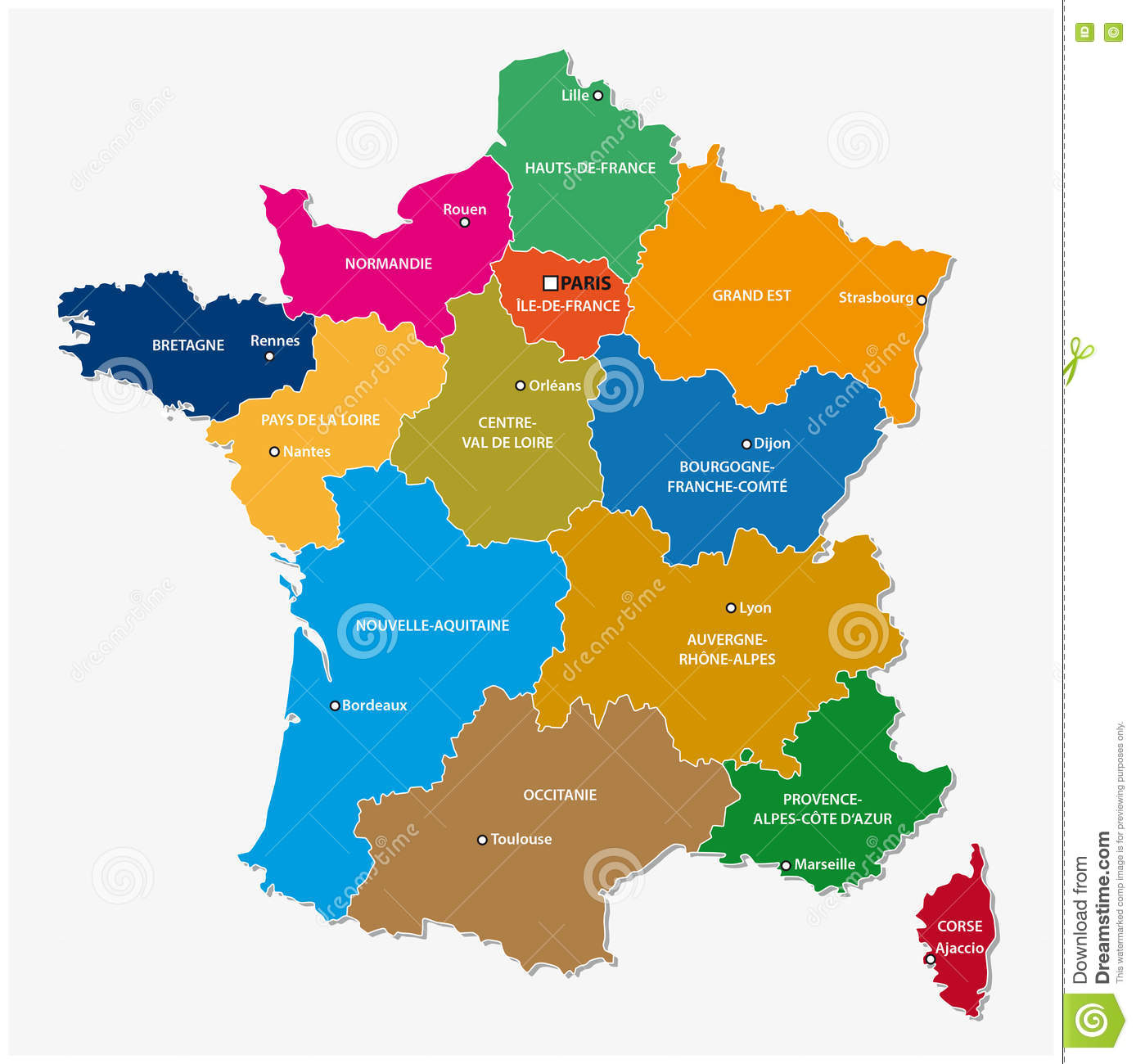 France Map With Regions.Administrative Map Of The 13 Regions Of France Since 2016 Stock