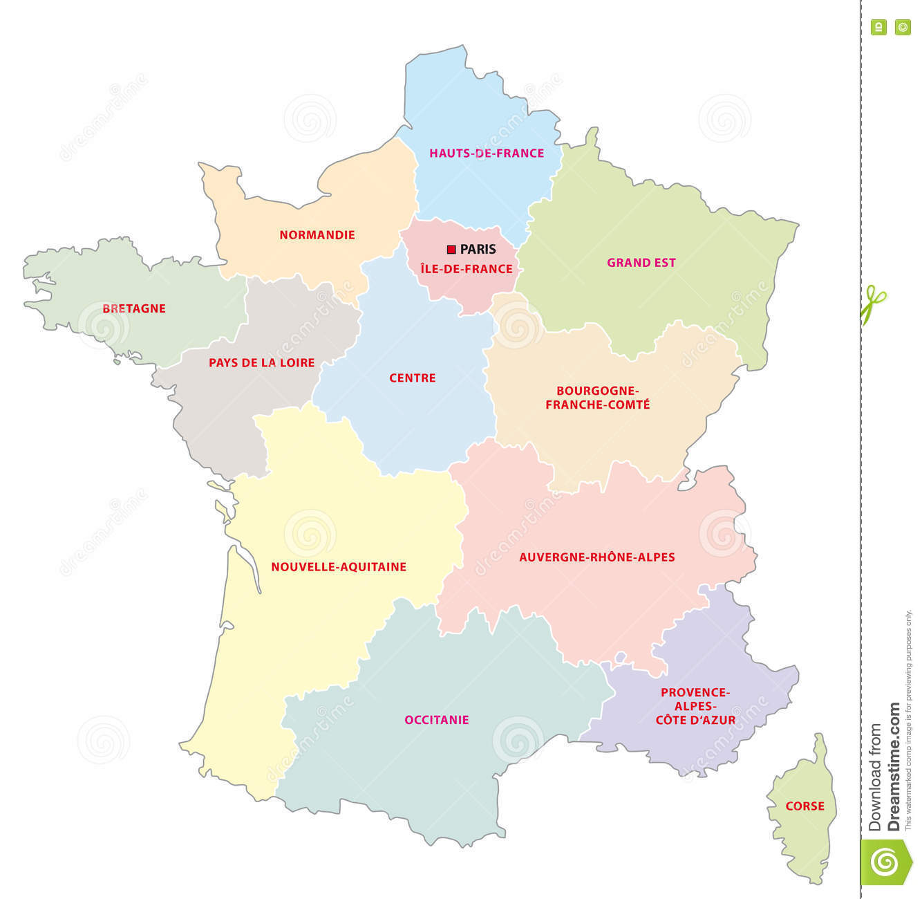 France Administrative Map With New Regions Stock Illustration