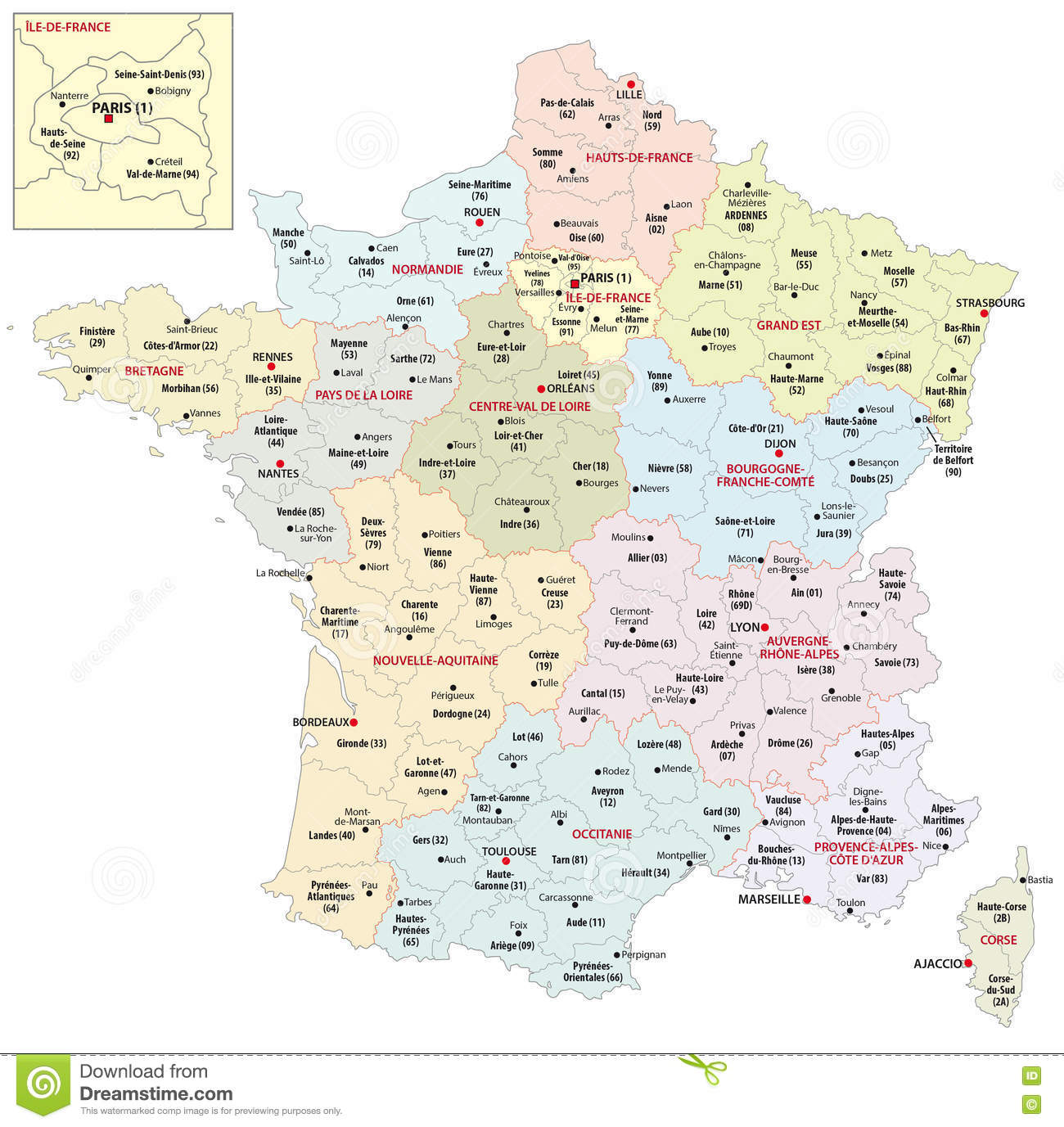 Map Of Regions Of France.Administrative Map Of The 13 Regions Of France Since 2016 Stock