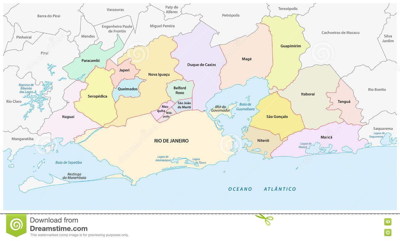 Administrative And Political Map Of The Greater Rio De Janeiro - Brazil political map