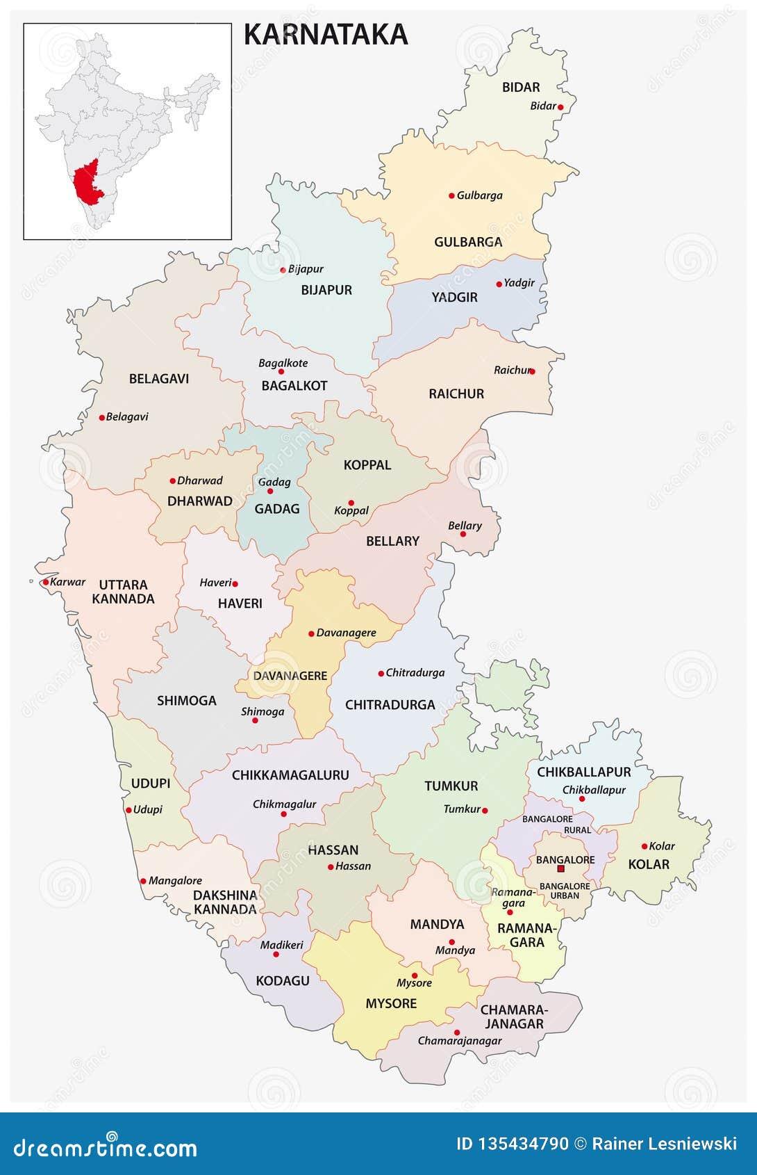 Administrative And Political Map Of Indian State Of Karnataka, India on maps of only india, jharkhand india, states of india, world map india, major rivers of india, maps for india, where's india, political map government, varanasi india, leader of india, northern region of india, political world map, atlas of india, geography of india, bangalore india, north india, map showing india, political map kerala, provinces of india, nashik india,