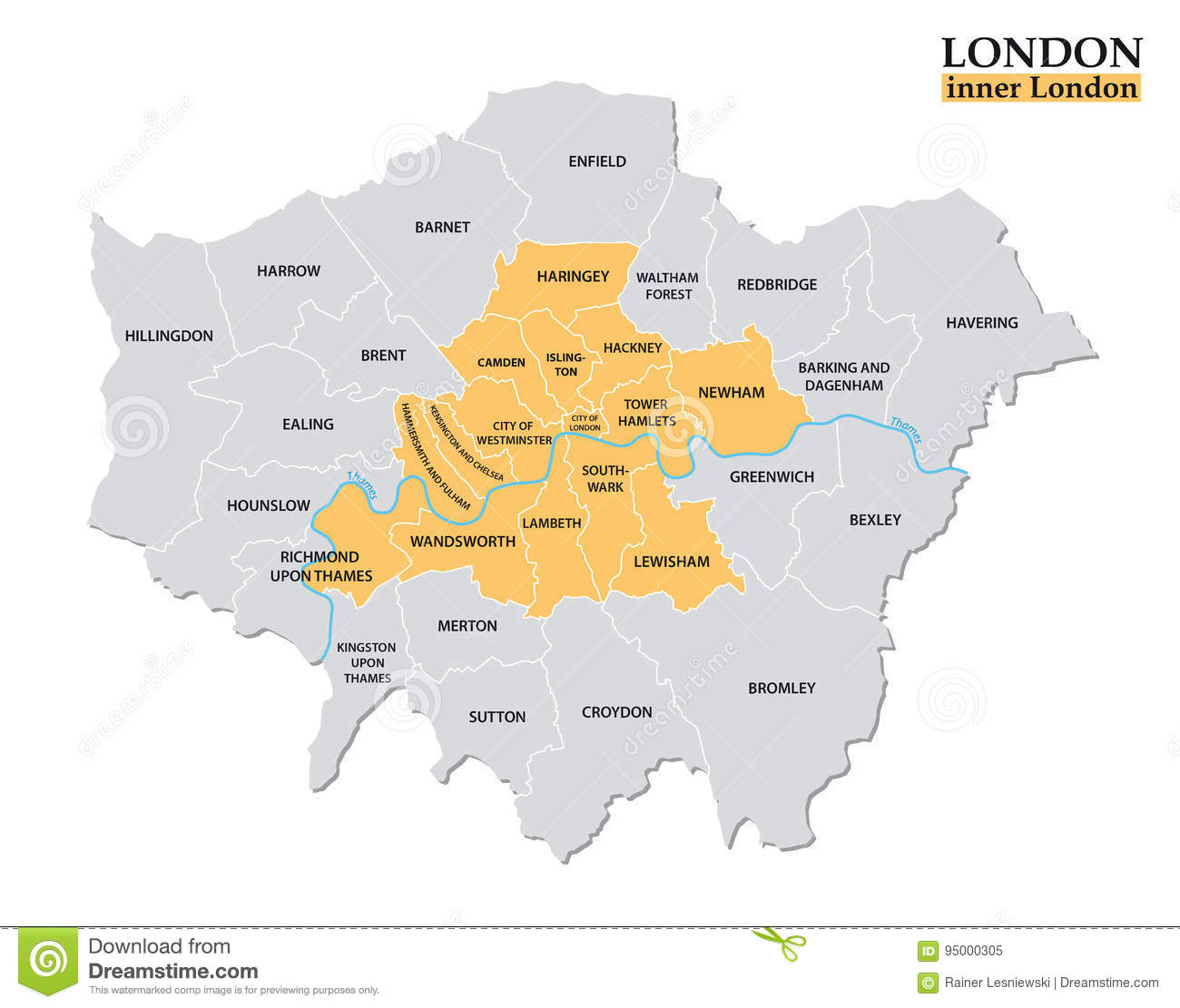 Administrative And Political Map Of Inner London, Statistical ... on