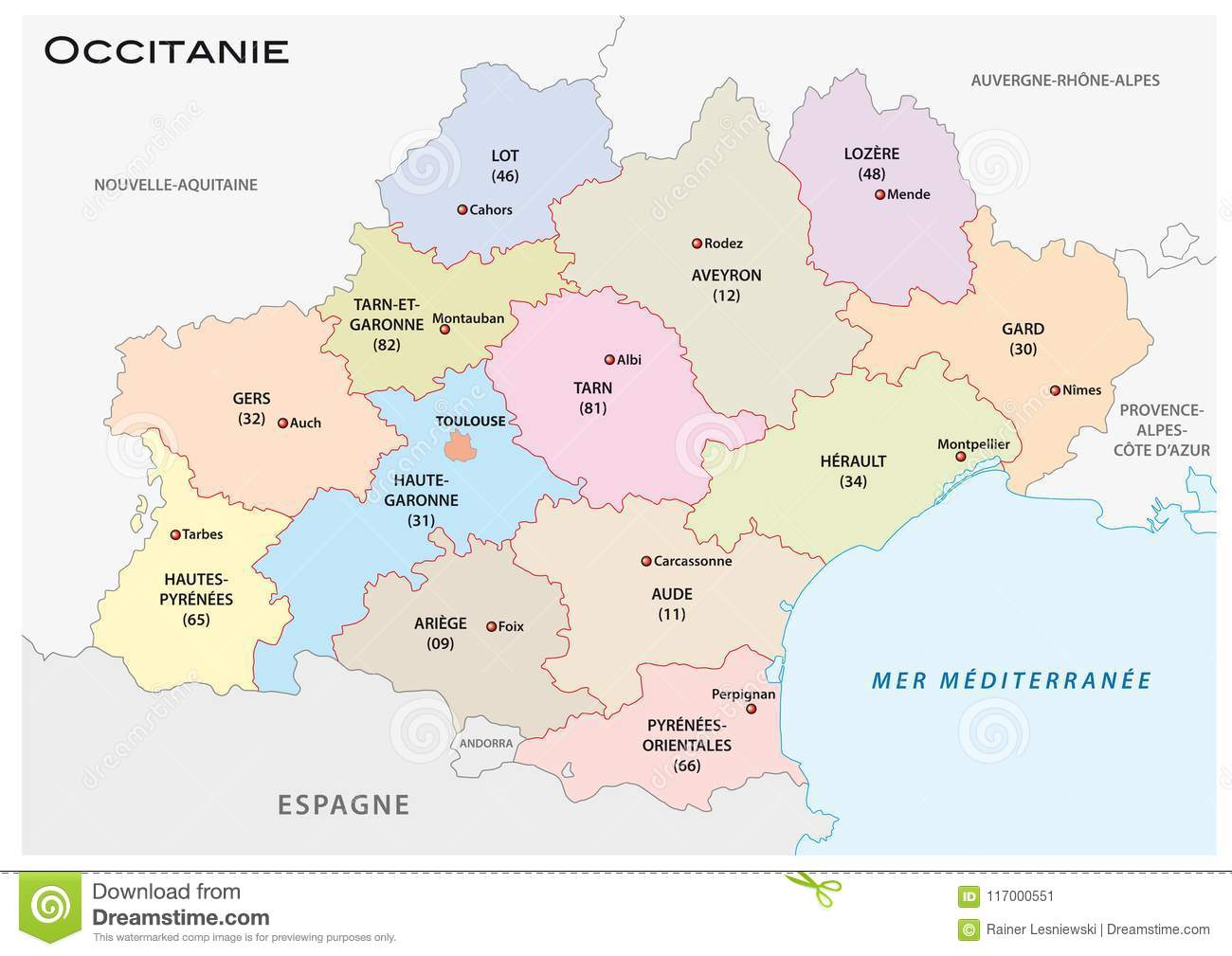 Map Of Regions France.Administrative And Political Vector Map Of The Occitanie Region