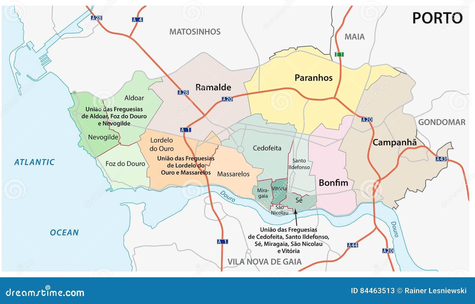 mapa de ruas portugal Administrativo, Político E Mapa De Ruas Da Cidade Portuguesa De  mapa de ruas portugal