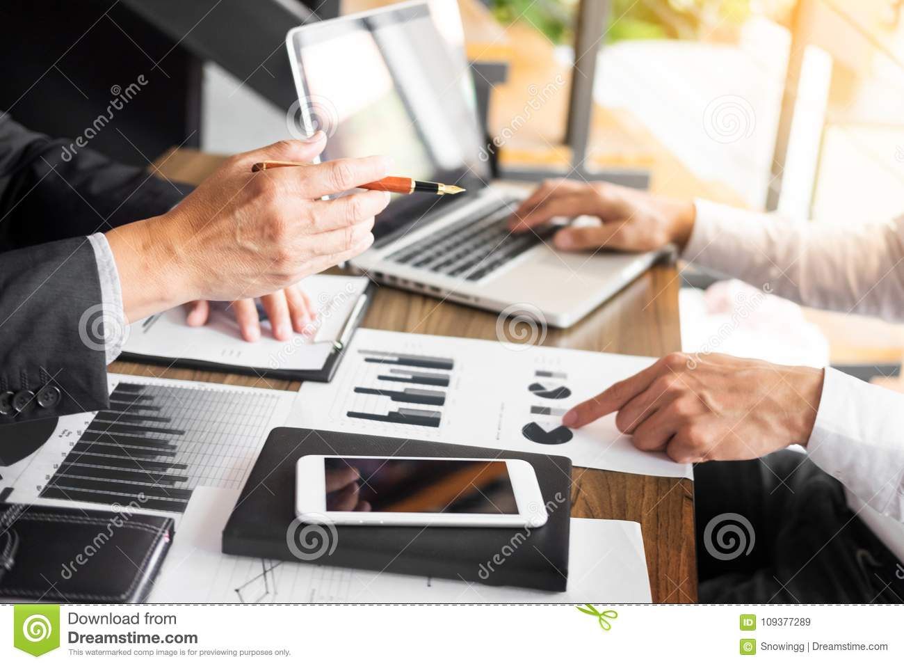 Administrator business man financial inspector and secretary making report, calculating balance. Service checking document. Audit