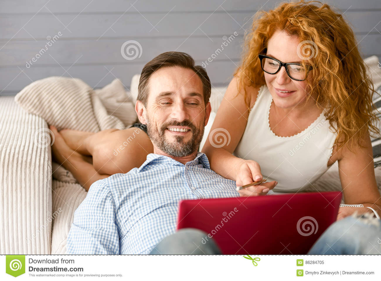 Admirable Husband And Wife Working At Home Stock Image Image Of