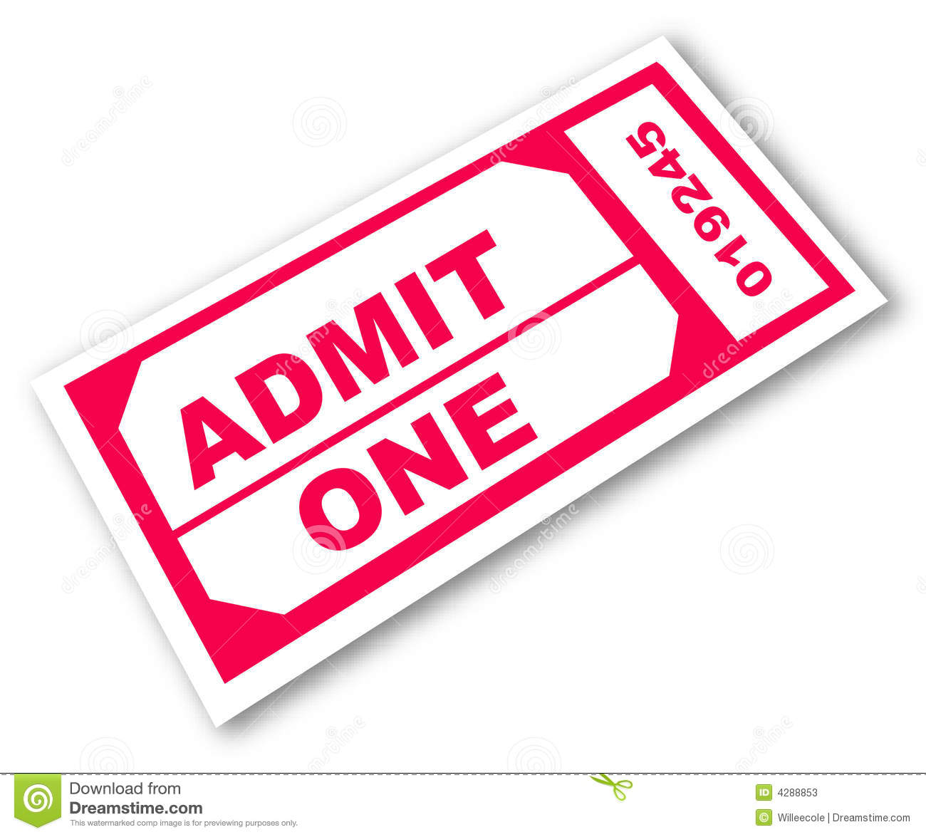 Admission ticket with the words - admit one - vector.