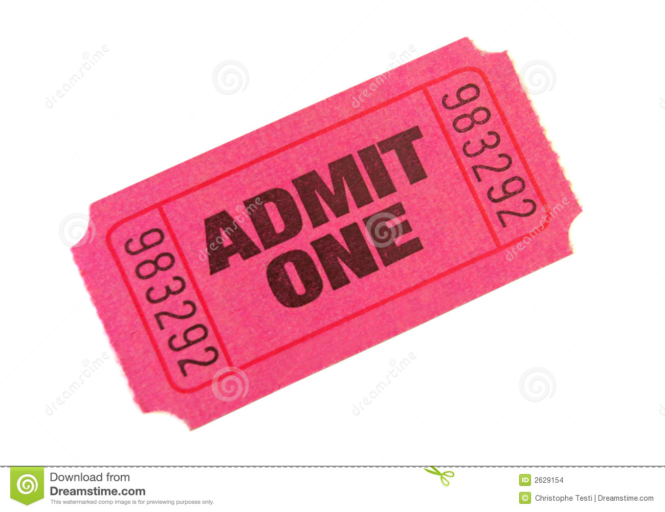 Admit One Ticket Stock Images Image 2629154
